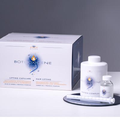 BOTUOXIGENE Ботокс для волос. 1 протеиновый комплекс 150 мл + 12 ампул флюида 20 мл