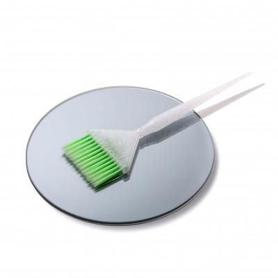 SHKALLI Кисточка для окрашивания широкая (белая с блестками, зеленый ворс)