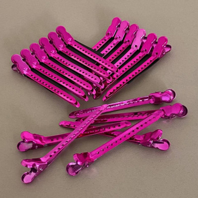 Зажим для волос Steel Clip розовый металический